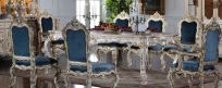 Dining room set, solid wood and hand-carved, cracking paint with golden leaf gilding