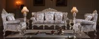 Living room set,  solid wood and hand-carved, cracking paint with silver leaf gilding